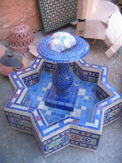 Fuentes mosaico marroqu con bomba de agua fuentes for Mosaico marroqui