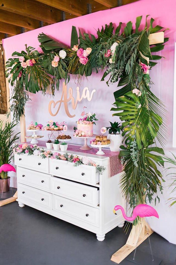 Dessert Table from a Lets Flamingle Tropical Flamingo Birthday Party on Karas Party Ideas  9