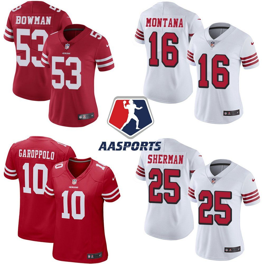 b777b7b3fd835 Camisa San Francisco 49ers - 10 Garoppolo - 16 Montana - 25 Sherman - 53  Bowman
