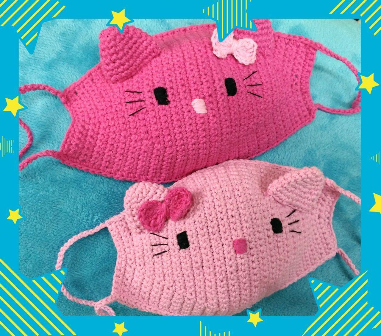 Photo of Crochet face mask character hello kitty