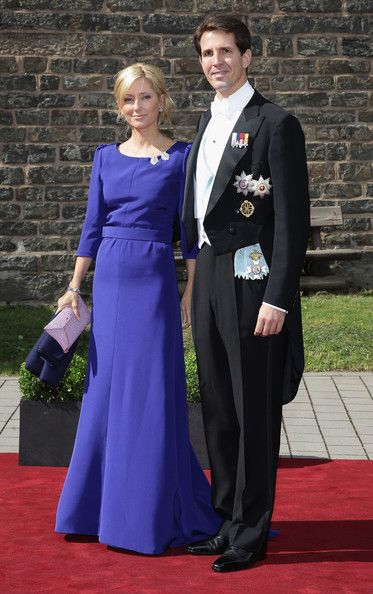 Prince Pavlos and crown Princess Marie-Chantal of Greece arrive for the wedding of Princess Nathalie zu Sayn-Wittgenstein-Berleburg and Alexander Johannsmann at the evangelic Stadtkirche on June 18, 2011 in Bad Berleburg, Germany
