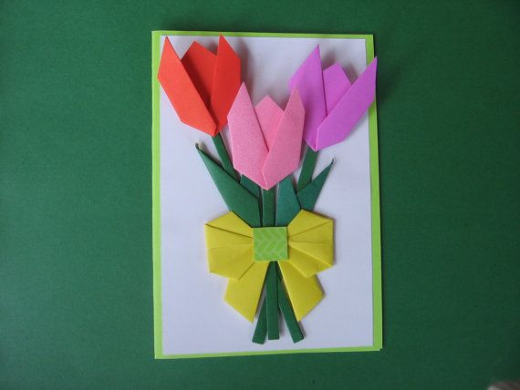 Handmade origami paper flower card mothers day tulip blank happy birthday origami flower card mothers day card get well card thank you card handmade origami card with flowers mightylinksfo