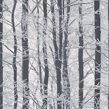 woodland wallpaper trees winter forest glitter sparkle white grey