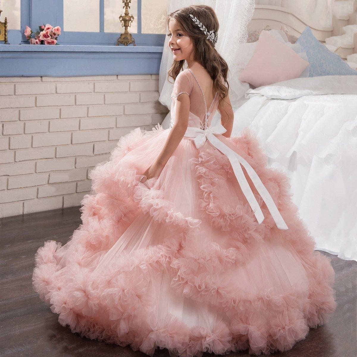 Blush Pink Girls Pageant Dresses 2018 Ball Gowns Cascading Ruffles ...