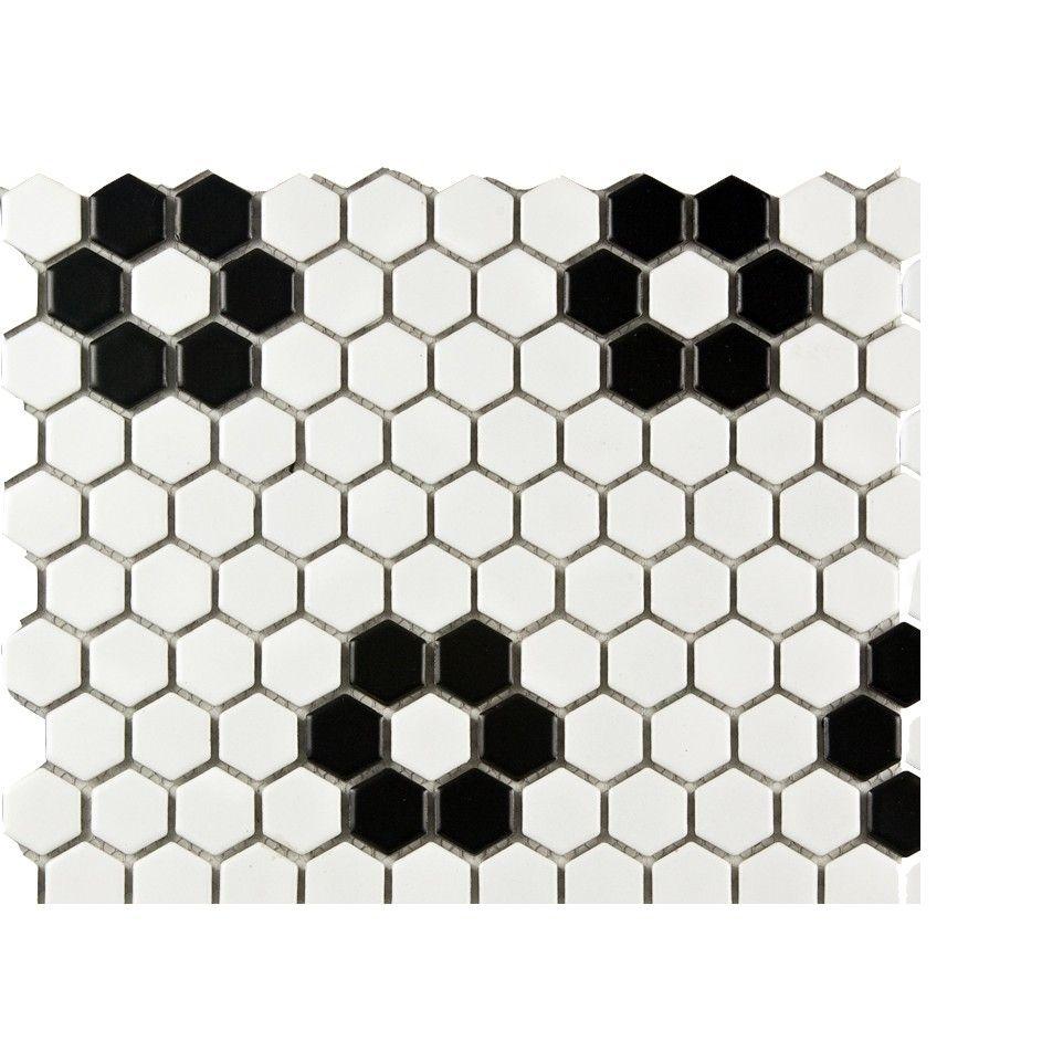 Metro Matte White Flower Hexagon Porcelain Mosaic 1 Inch Porcelain Mosaic Hexagon Tiles White Bathroom Tiles