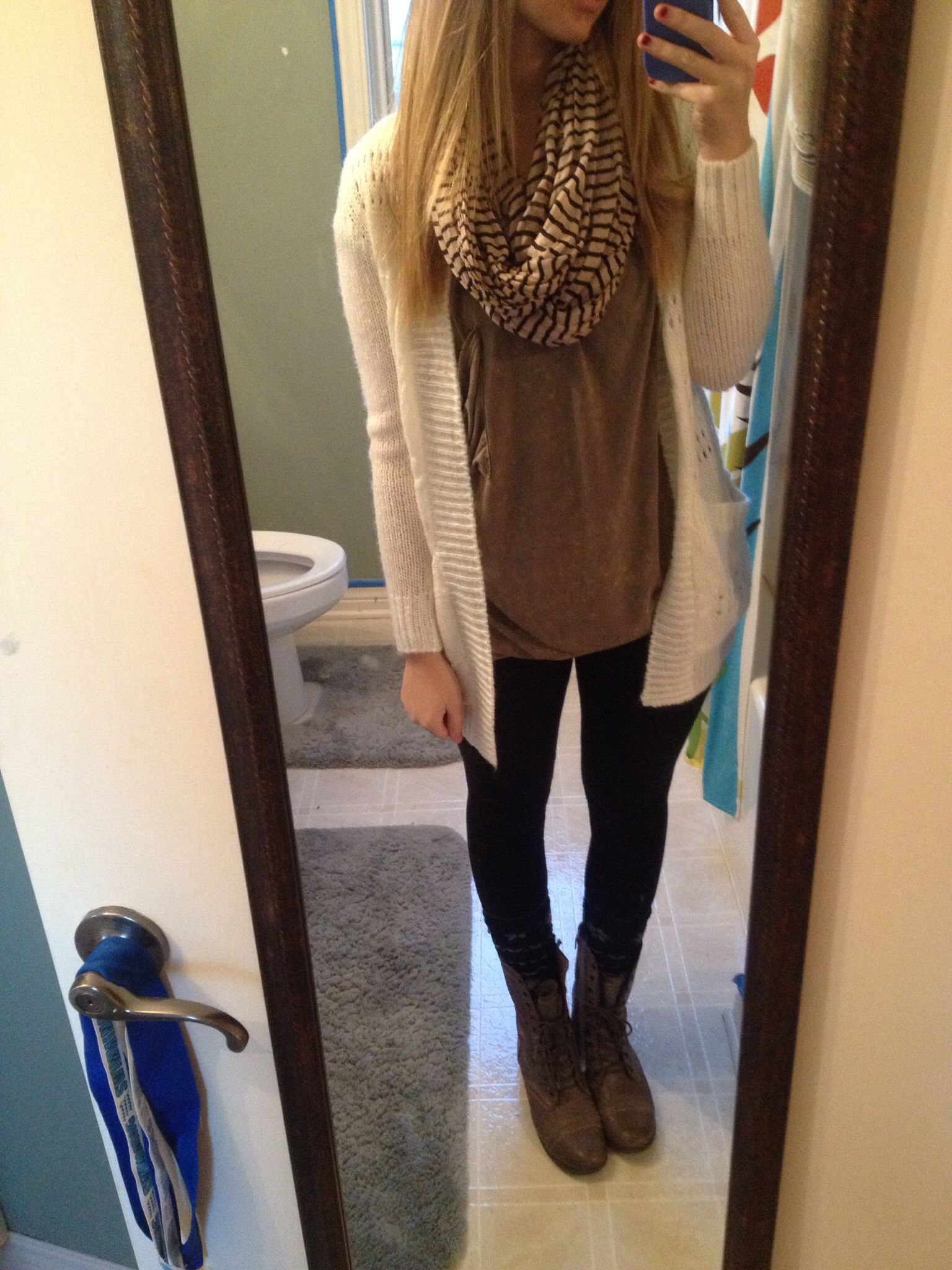 Large Dull Green Shirt, Creme Cardigan, Tan And Black Striped