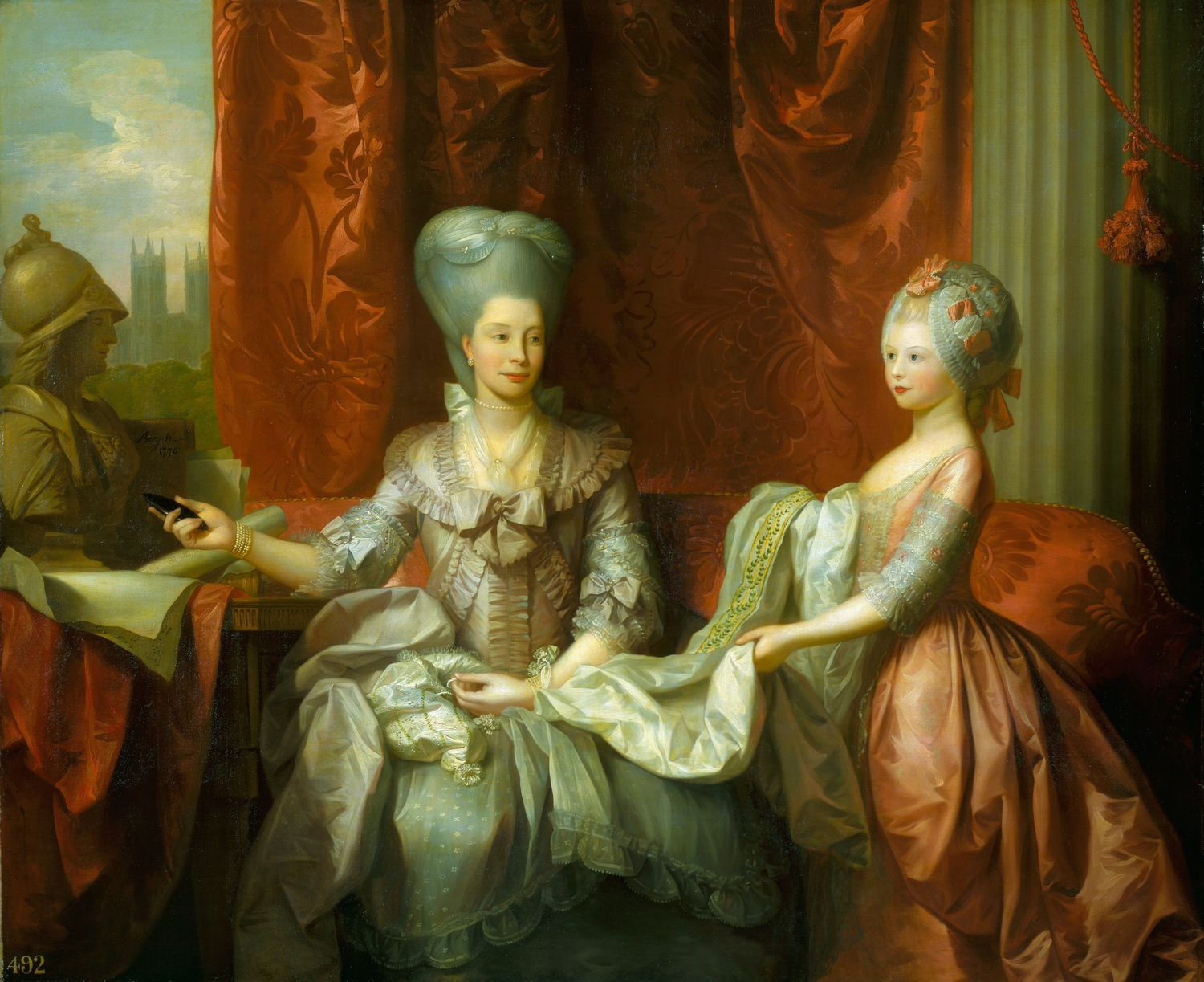 """Queen Charlotte (1744-1818) with Charlotte, Princess Royal (1766-1828)"", Benjamin West, 1776; Royal Collection."