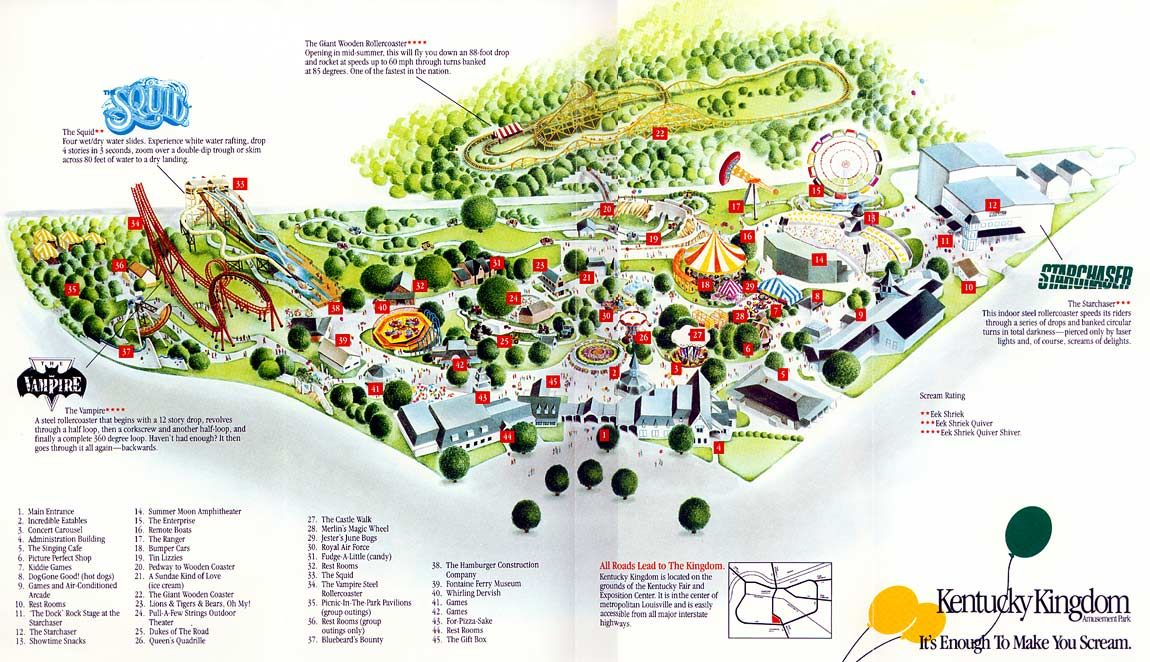 Map Of Kentucky Kingdom Coaster Junkie Pinterest - Map of all us theme parks