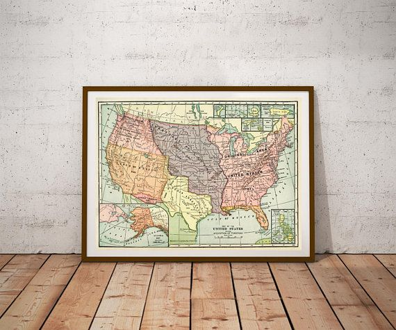United states map Print Map DIGITAL Print Vintage USA Map Poster USA