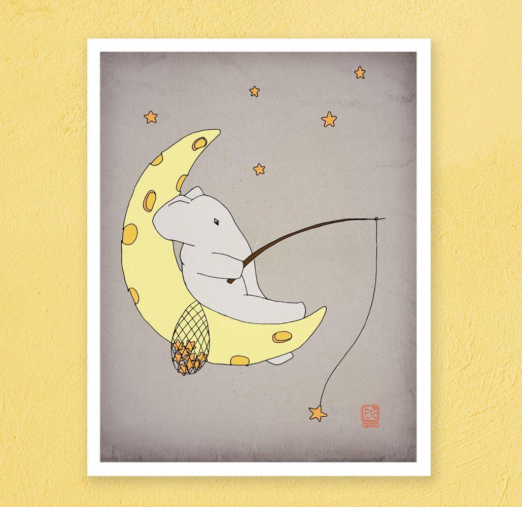 Kids poster elephant art print, nursery elephant art print, Elephant ...
