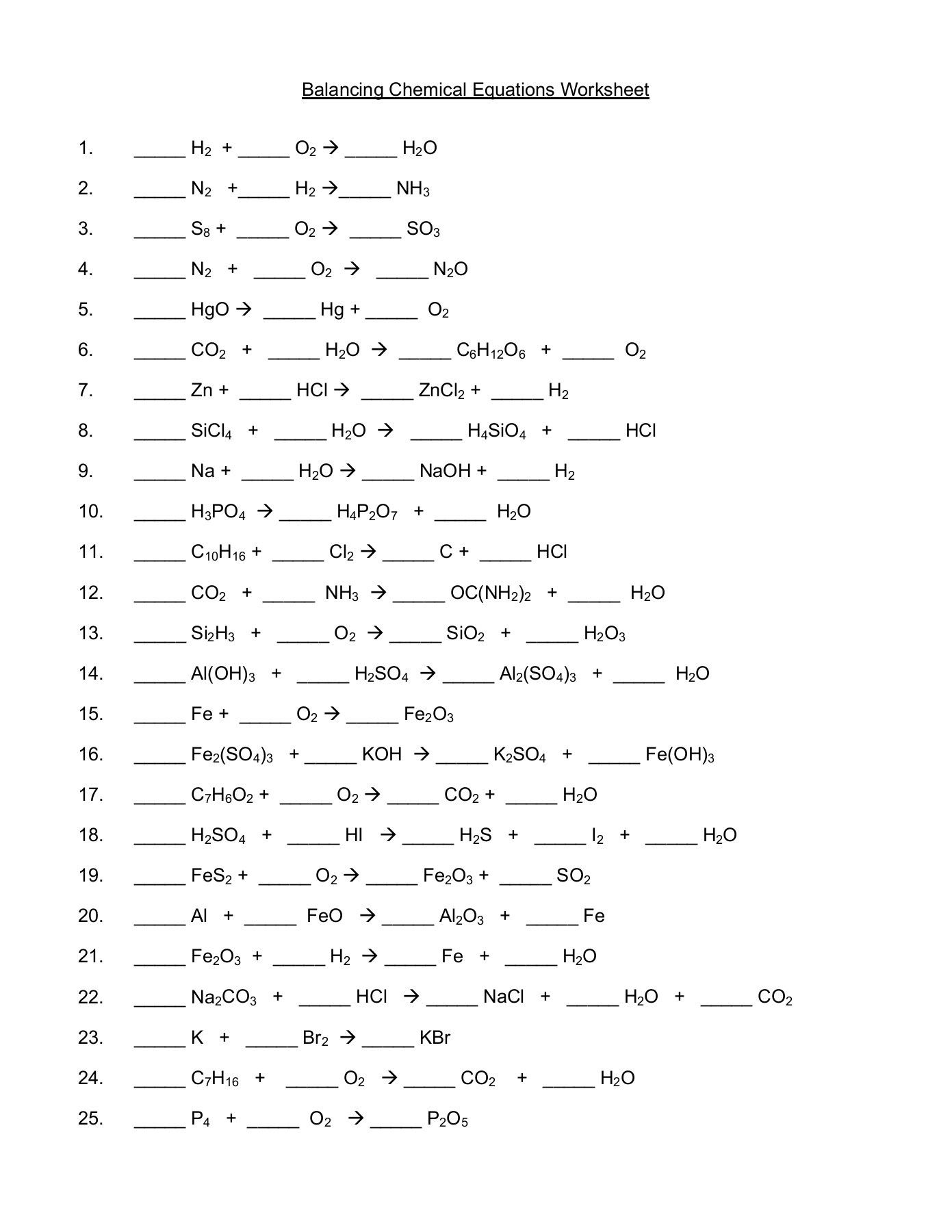 33 Clever Balancing Chemical Equations Worksheet Design En