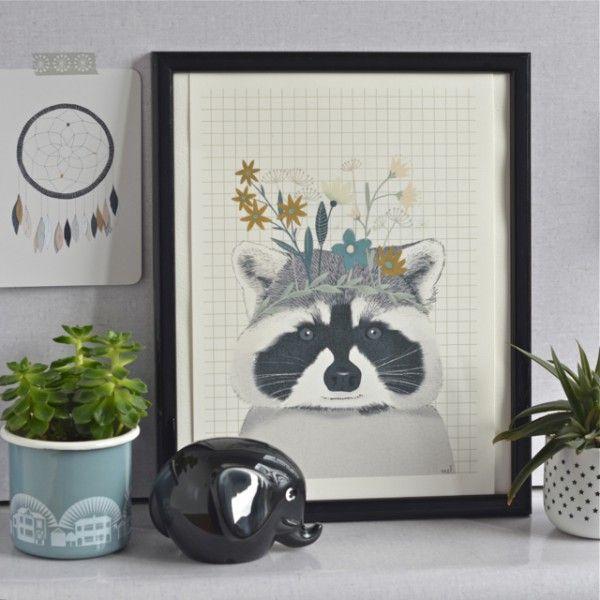 Affiche Raton-laveur A4 Minimel - deco-graphic.com