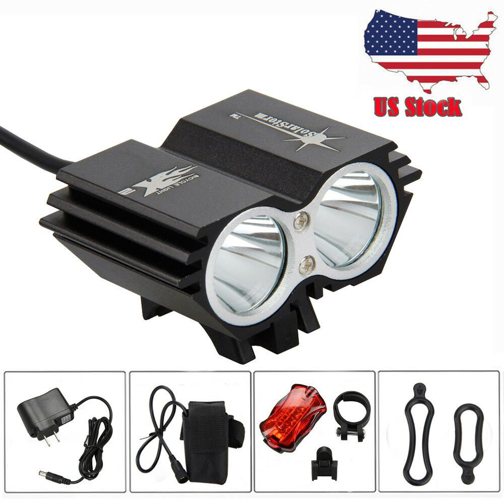 5000LM 2x XM-L T6 LED Bicycle Front Light USB Rechargeable Headlight Taillight