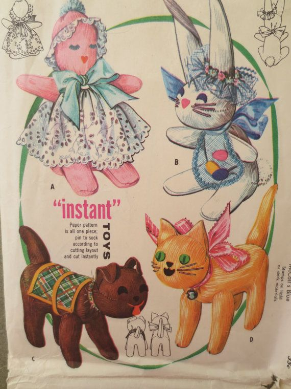 Vintage McCall\'s 2085 Sewing Pattern, Toy Pattern, Stuffed Animal ...