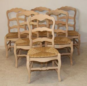 Set 6 Dining Chairs Country French Rush Seats Antique