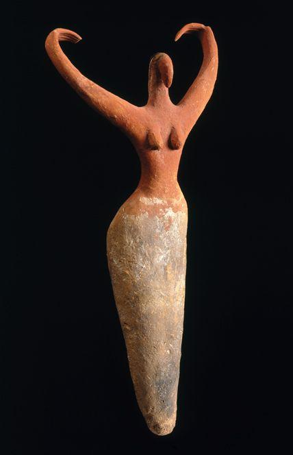 Female Figurine. Egypt, from Ma'mariya. Predynastic Period, Naqada II, c. 3500–3400 B.C.E. Terracotta, painted.