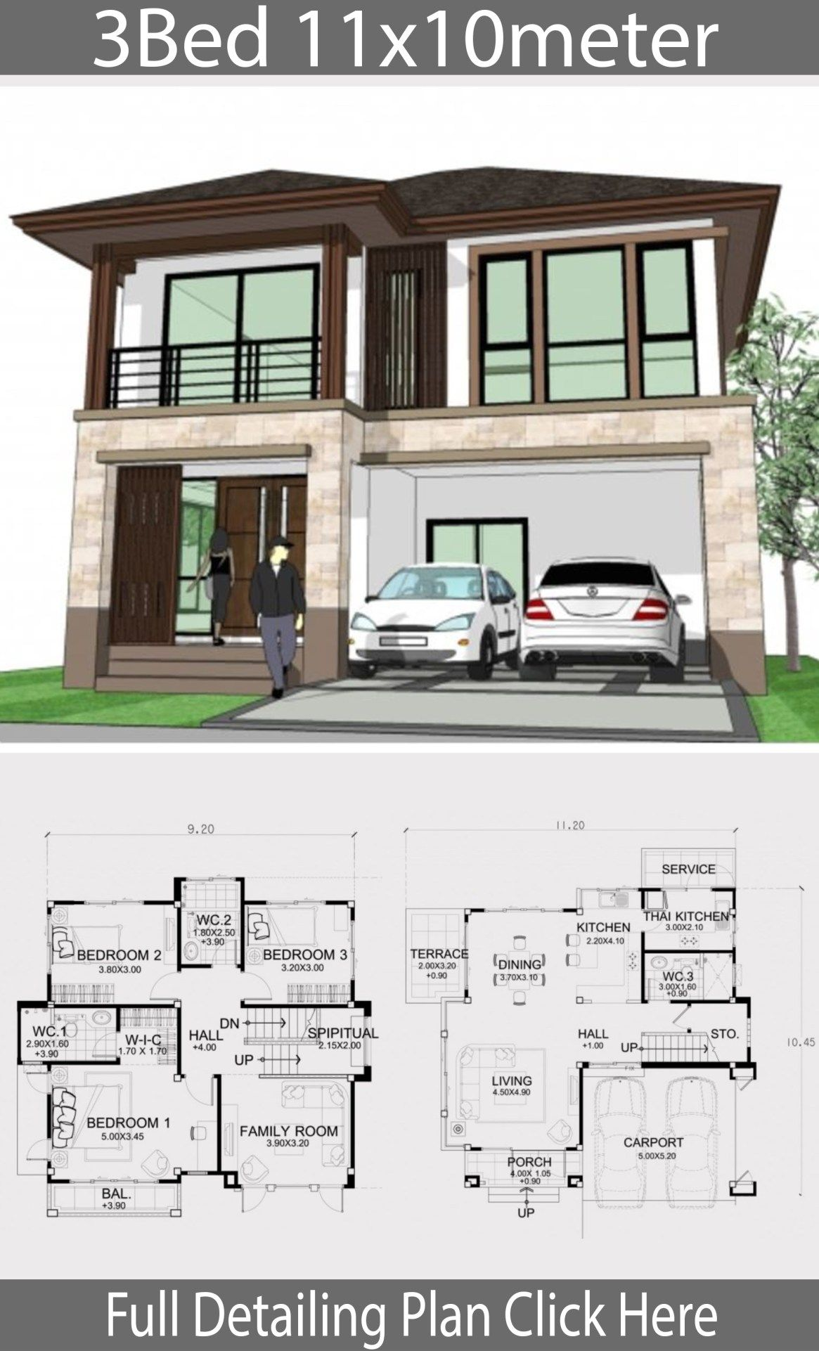 Home Design Plan 11x10m With 3 Bedrooms Home Design With Plansearch House Blueprints Contemporary House Plans House Plans