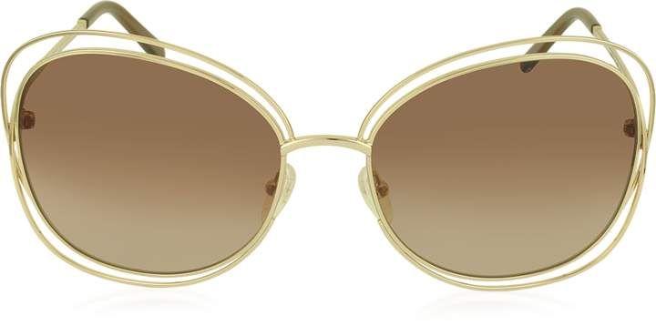 c78467bcbcf0 Chloé CARLINA CE 119S 786 Gold Metal Square Women s Sunglasses ...