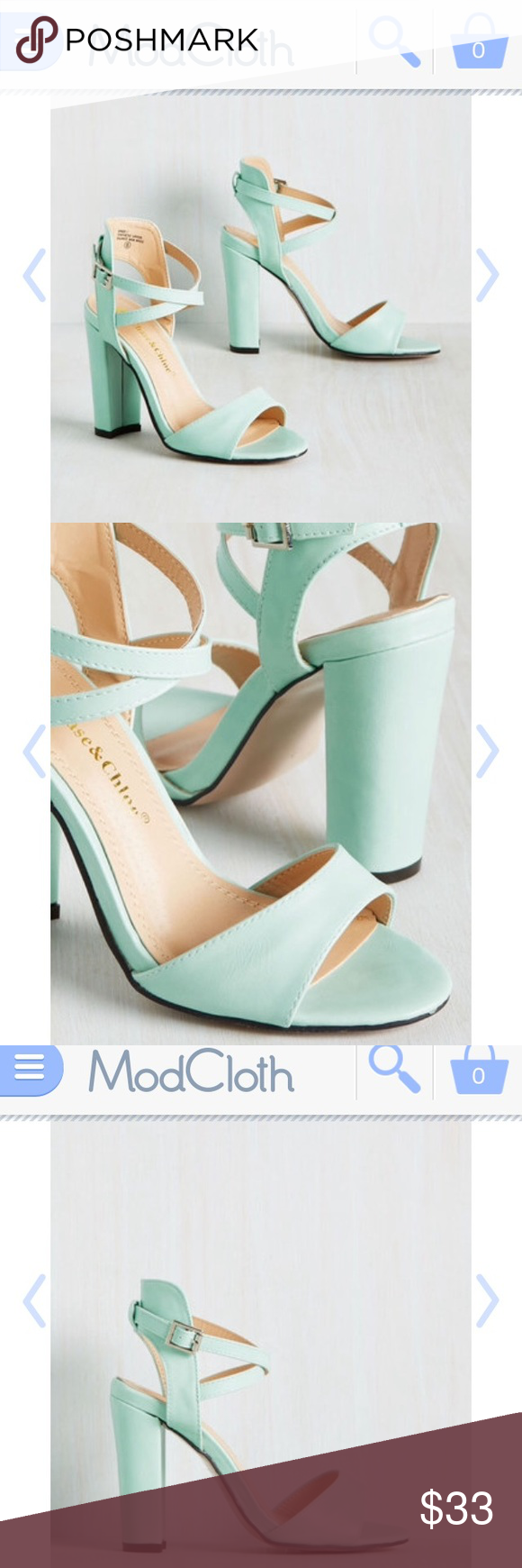 Mint heels Sold at modcloth.com called flourishing courage heel! Originally 39.99 New With Box! They were only wore for a few hours I realized they were to big and wanted a different size. These are 8.5  anyone who is an 8.5 can ware them they might be lose on you, I think a 9 could ware them as well. There is a small nick on the bottom of the shoe this is the only flaw but since it's on the bottom you can't and no else can see it :)  Great fun heels in great condition! ModCloth Shoes Heels