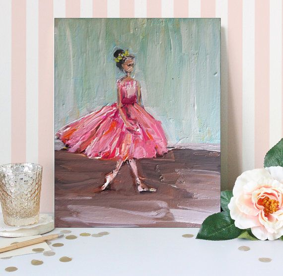 Ballerina Painting abstract standing 8 x 10 by DevinePaintings