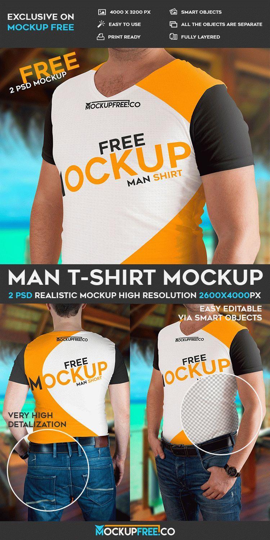 Download 2 Free Man T Shirt Psd Mockups Free Psd Templates Free Photoshop Mockup Psd Man T Shirt Mockup Free Psd Tshirt Mockup Free Free Psd