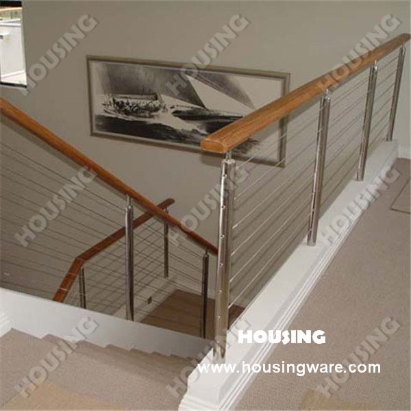 Stainless Steel Stair Railing With Wooden Handrail