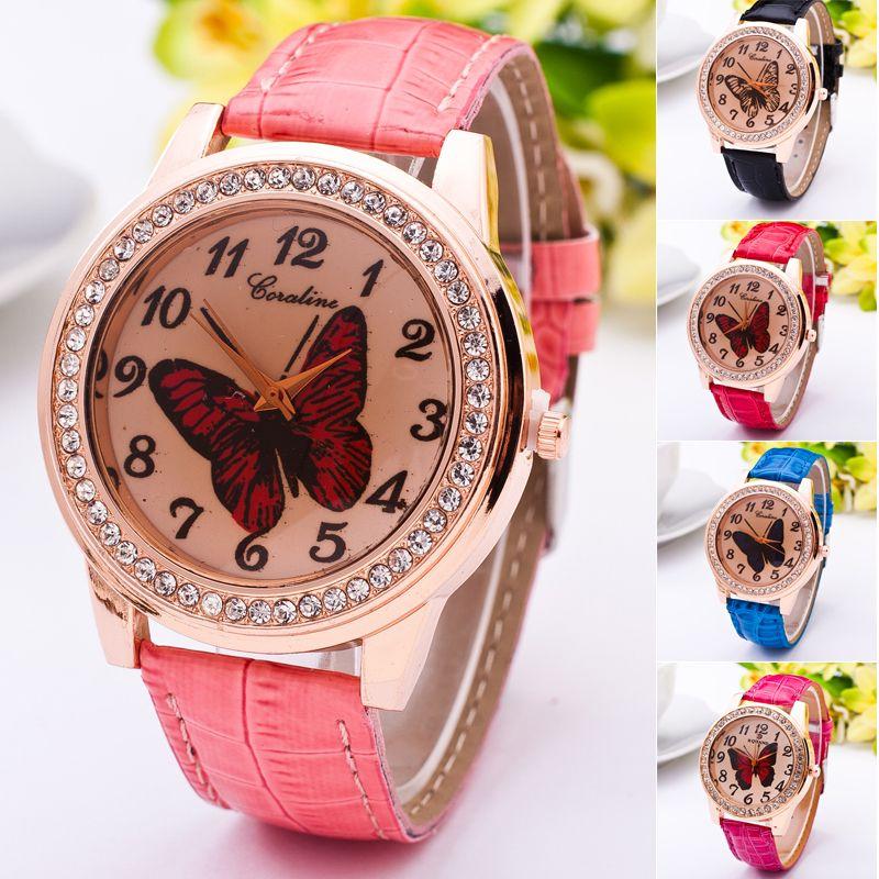 Elegant Womens PU Leather Strap Butterfly Quartz Dress Wrist Watch Gifts