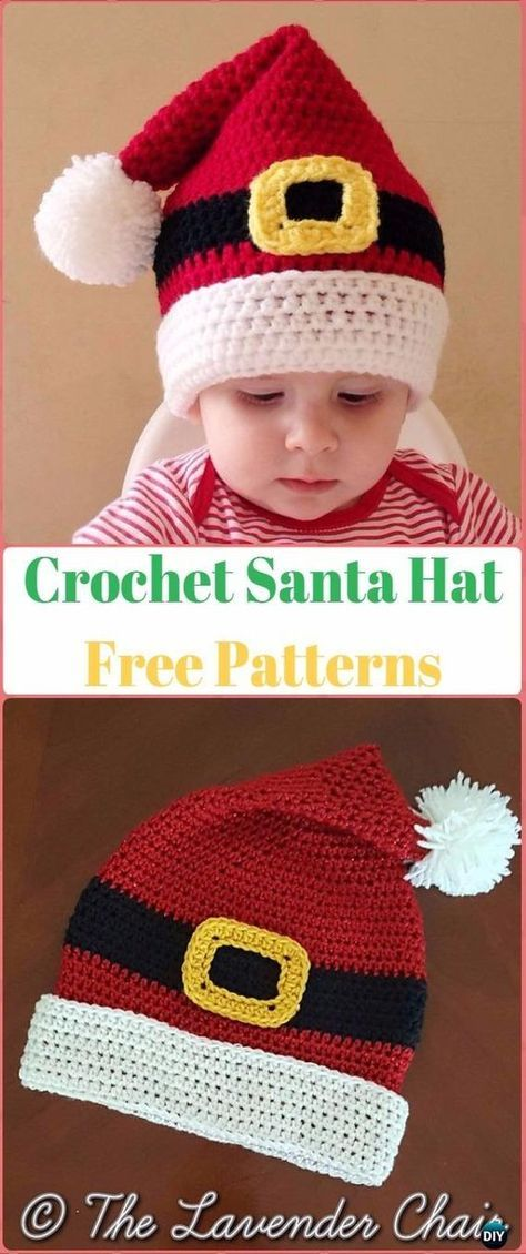 Crochet Christmas Hat Gifts Free Patterns Tutorials | Crochet santa ...