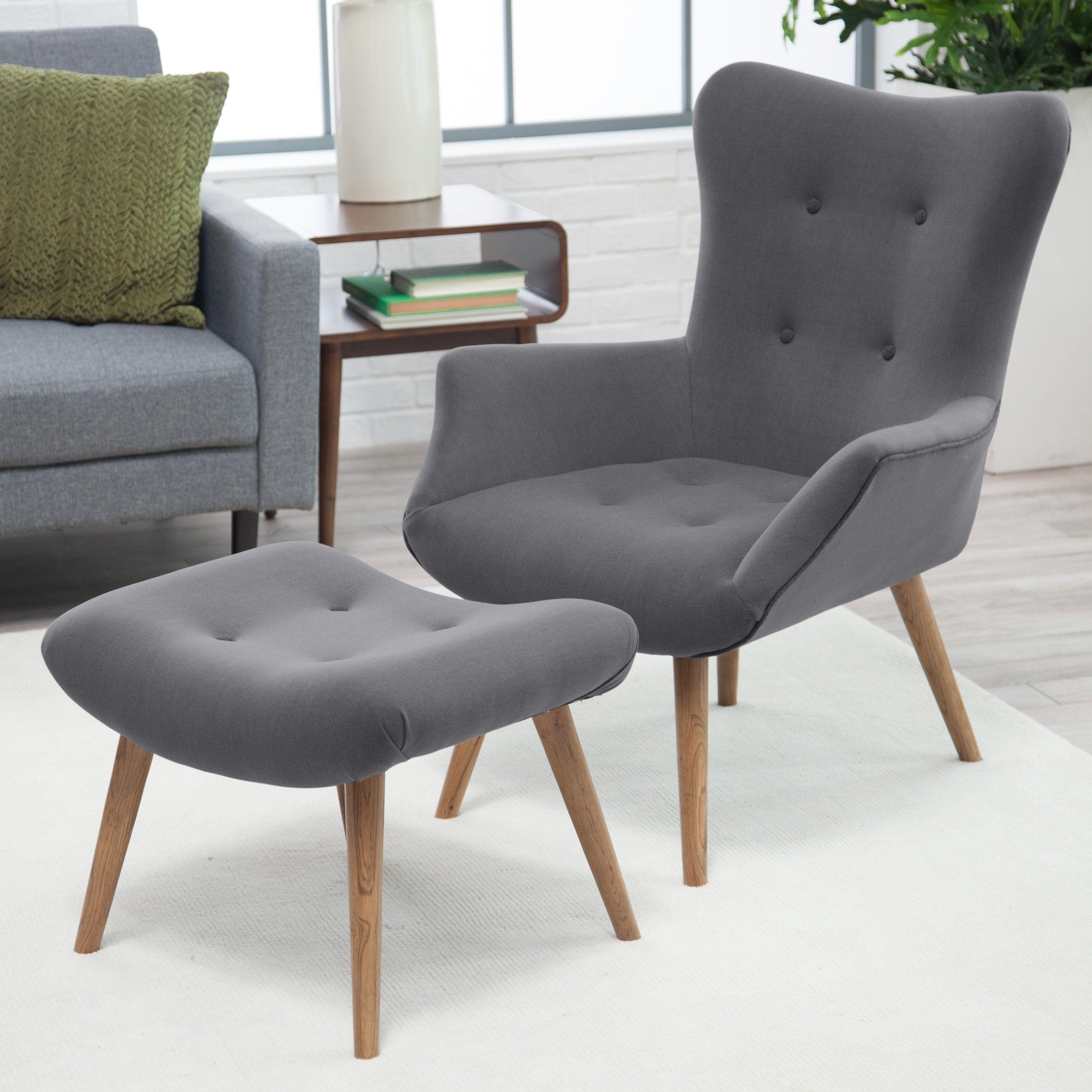 Sensational Belham Living Matthias Mid Century Modern Chair And Ottoman Pabps2019 Chair Design Images Pabps2019Com
