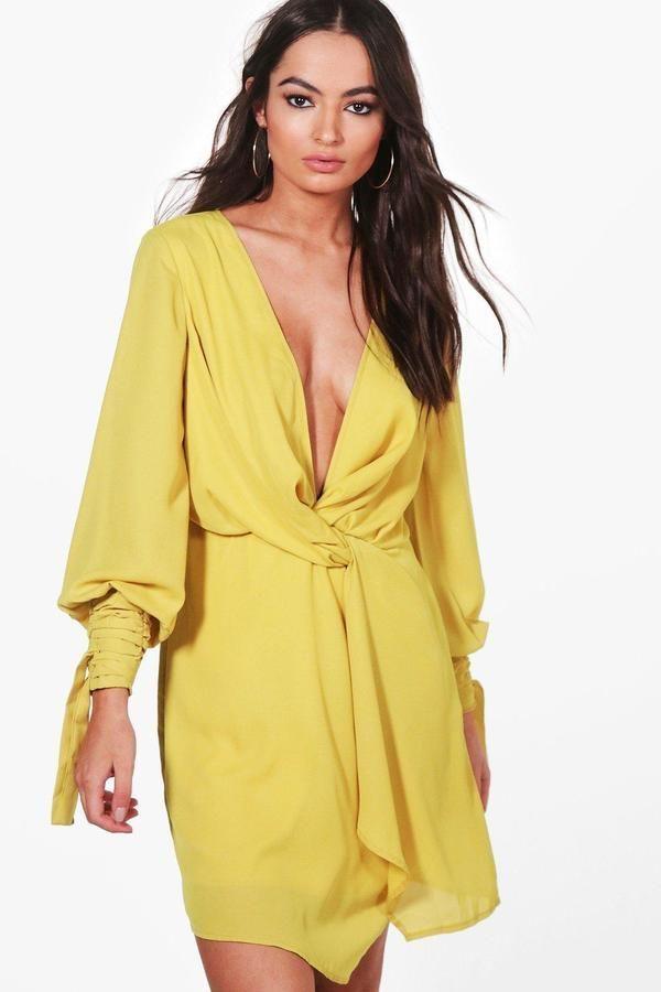 c87f3b0a7a2f boohoo Tia Twist Front Ruched Sleeves Shift Dress | Products ...
