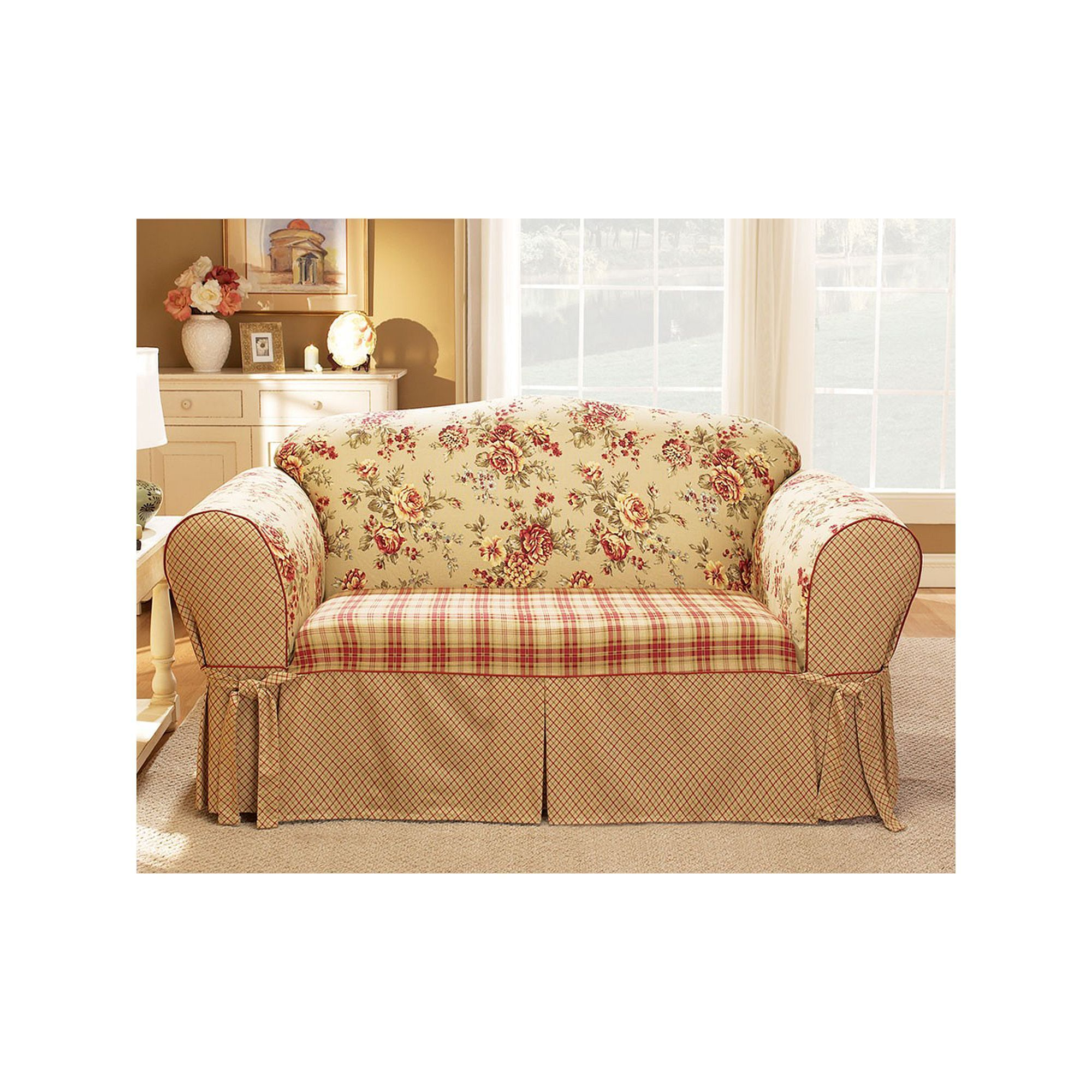 Sure Fit Lexington Floral Sofa Slipcover Red