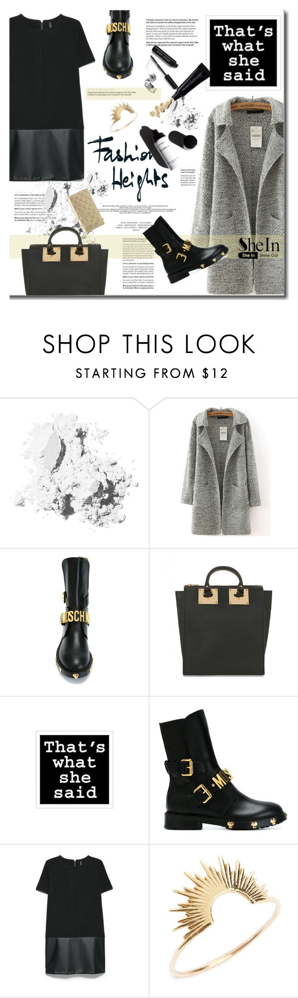 """""""SheIn - Long Sleeve Coat"""" by stylemeup-649 ❤ liked on Polyvore featuring Bobbi Brown Cosmetics, Moschino, Sophie Hulme, MANGO, Garance Doré, Sarah & Sebastian and Chanel"""
