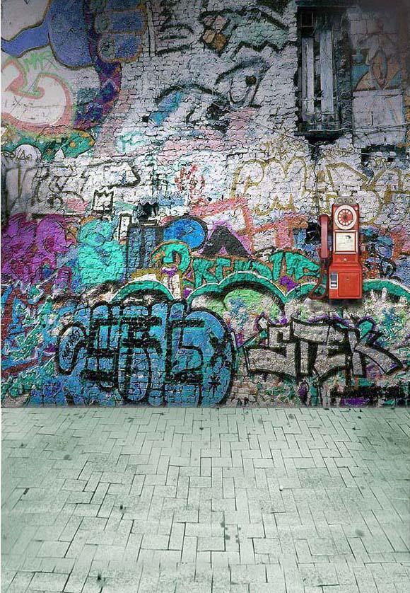 Graffiti Brick Wall Art Photography Backdrop F-2435 - 10'W*10'H(3*3m)