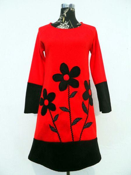 9d84323e9997 Fleece Kleid Flower Blumenkleid Winterkleid Herbst von Zellmann ...