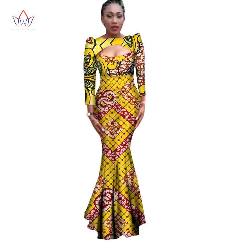 8812748ca64 New Autumn African Dresses For Women Bazin Sexy Cotton Africa Clothes  Dashiki Plus Size Traditional African Clothing