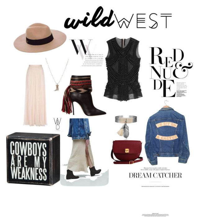 """""""Wild West Sparkle"""" by fannyday ❤ liked on Polyvore featuring Anine Bing, Dsquared2, MANGO, Dot & Bo, Needle & Thread, The Code, Understated Leather, Balmain and Balenciaga"""