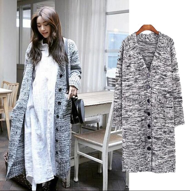 Free Shipping 2015 Autumn Spring New Long Sweater Coat Loose ...