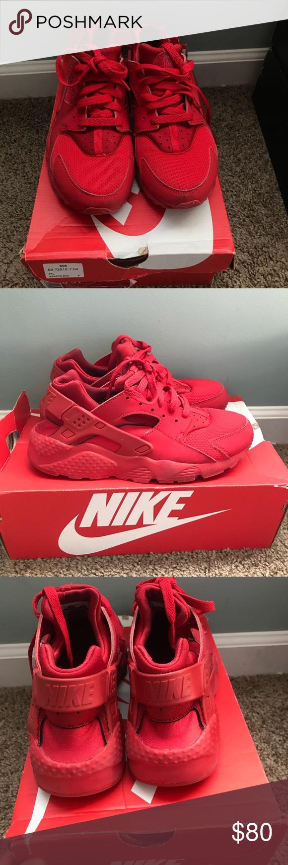 47cbb87b57ea Nike Huarache Run (Triple Red) Runs small! Fits size 7 in women s and size  5.5 in kids! Nike Shoes Sneakers