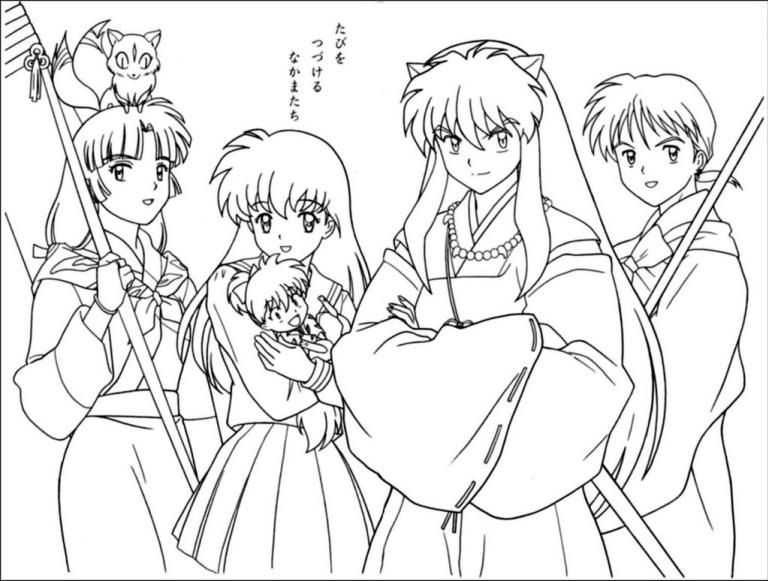 full inuyasha characters coloring pages  inuyasha anime