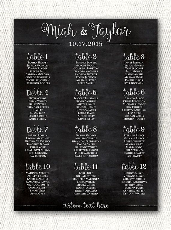Simple  rustic chalkboard style wedding seating chart printable alphabetical custom sizes color available also rush service gold polka dots confetti rh pinterest