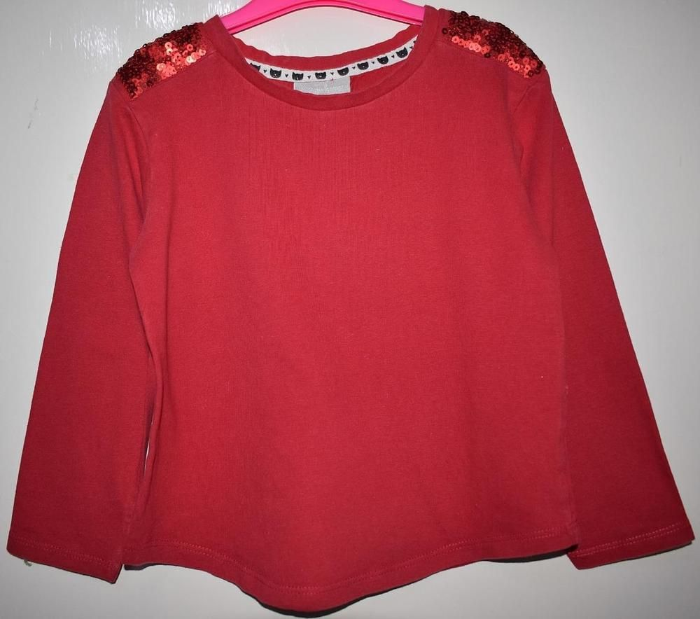 2c85a9134970 MATALAN Kids Girls Red Sequin Shoulder Scoop Neck Long Sleeve Top Age 7  Years