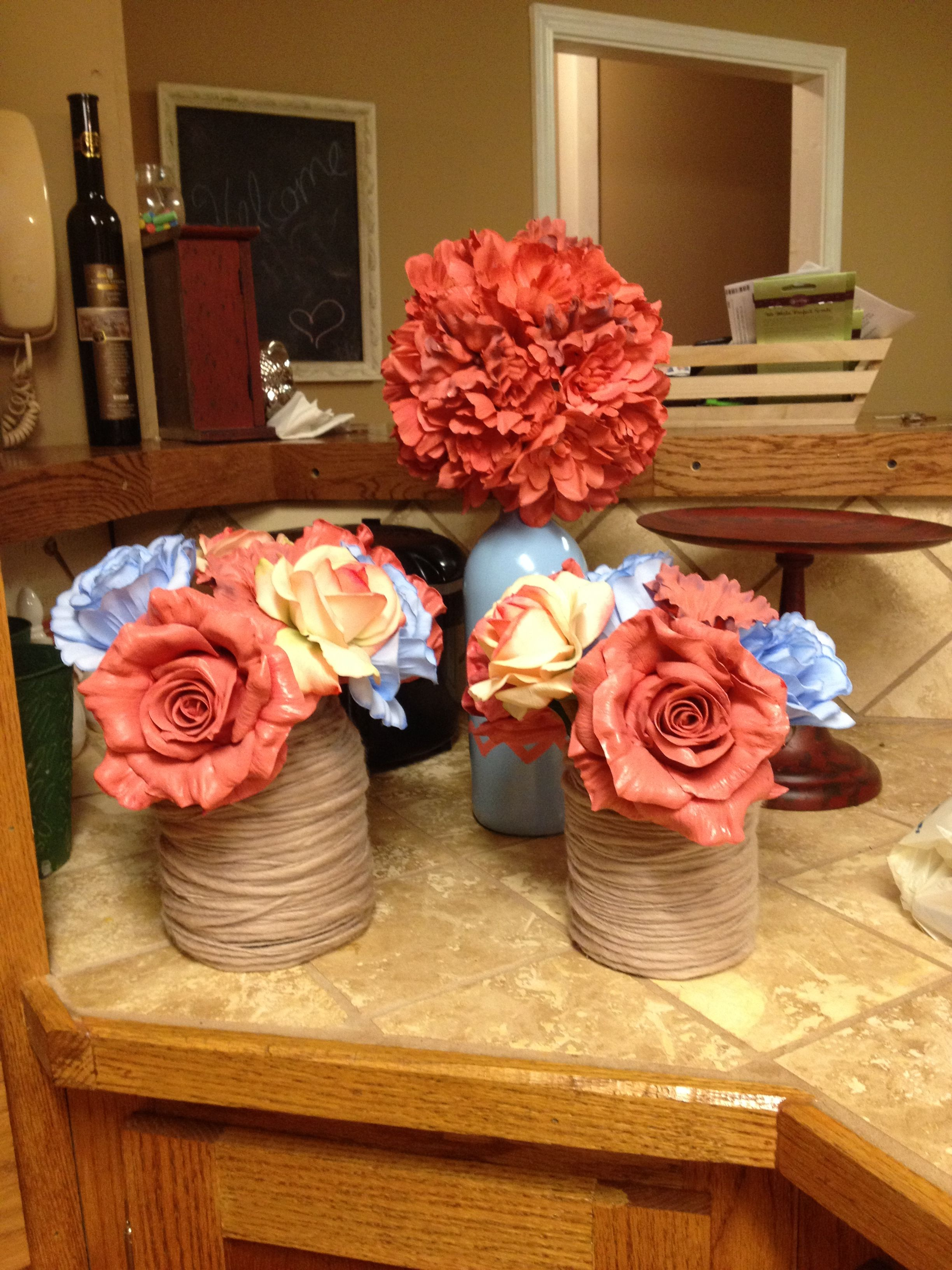 Mason jar wedding decoration ideas  Pickle jar mod pod wrapped cotton blue coral wedding decor