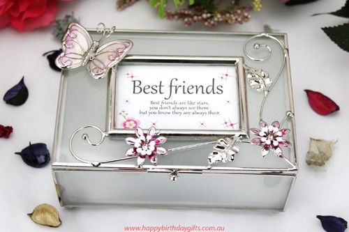 Best friends jewellery box with personalized message Cant you just