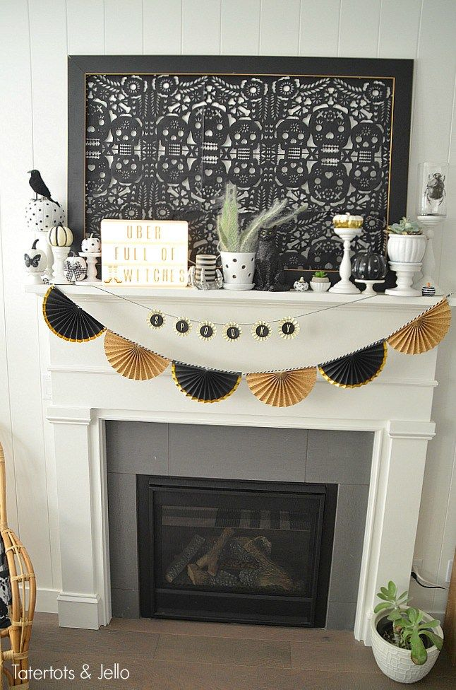 Black and White Neutral Halloween Mantel Decorating Ideas Project
