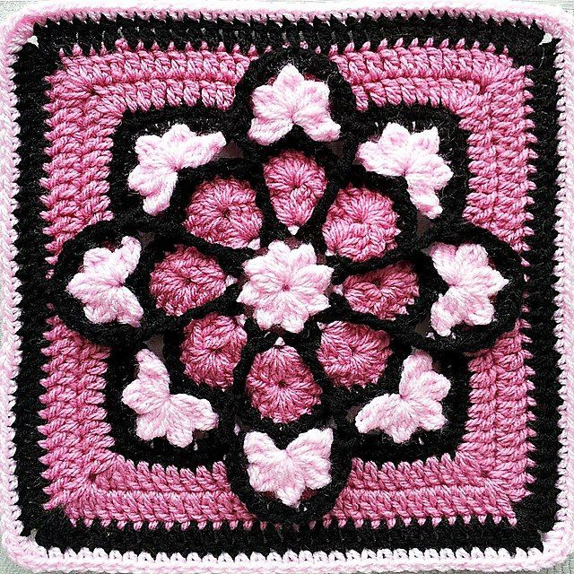 african flower crochet pattern | Pink African Flower adaption ...