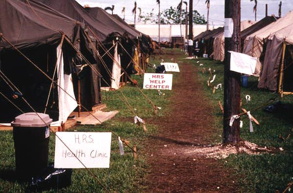 HRS health clinics and help centers set up after Hurricane Andrew (1992).   Florida Memory