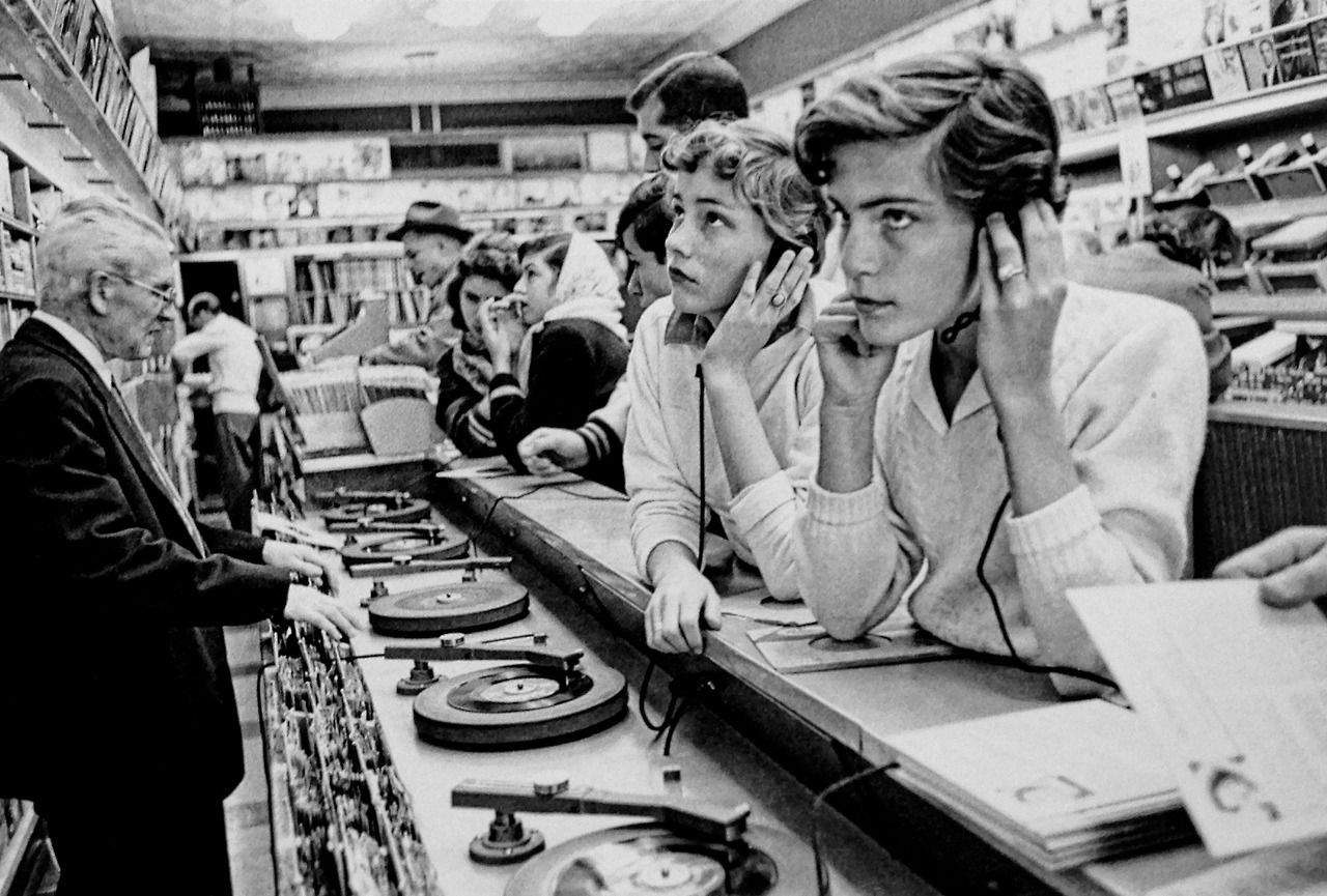 Teenagers Listening To The Latest Hits 1957 New York Photo