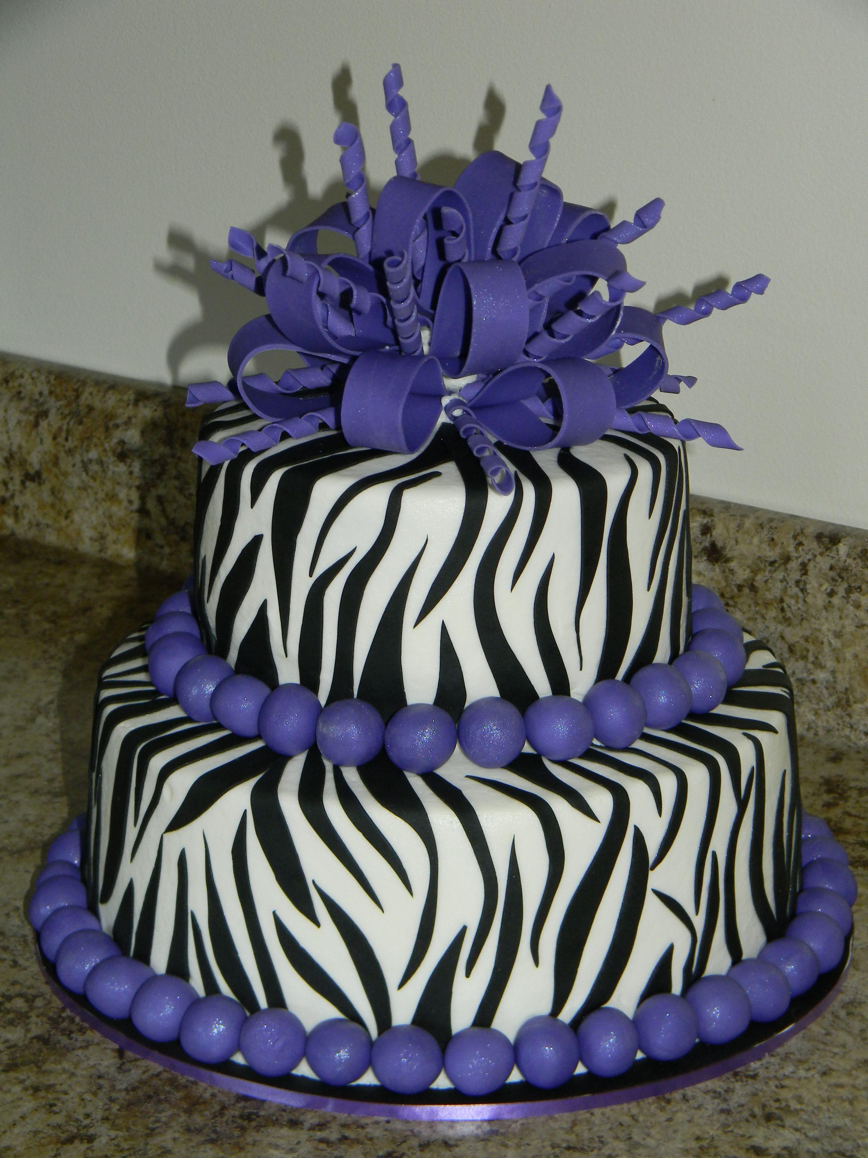 Cake Decorating Zebra Print : purplr cheetah cake decorations Purple Zebra Birthday cake - Cake Decorating Community - Cakes ...