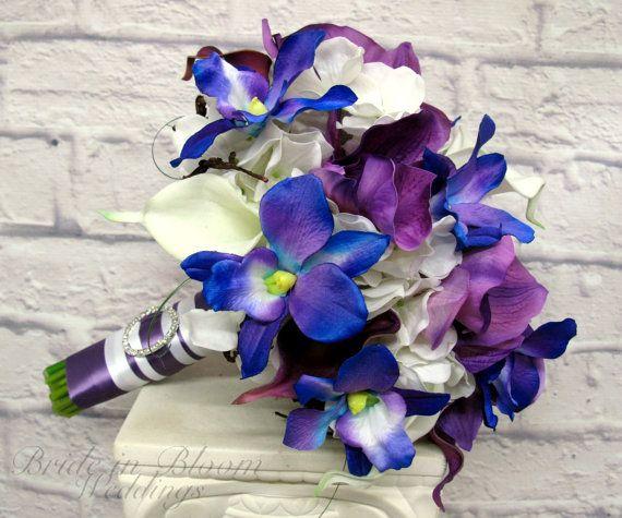 Wedding Bouquet Blue Orchid White Purple By Brideinbloomweddings