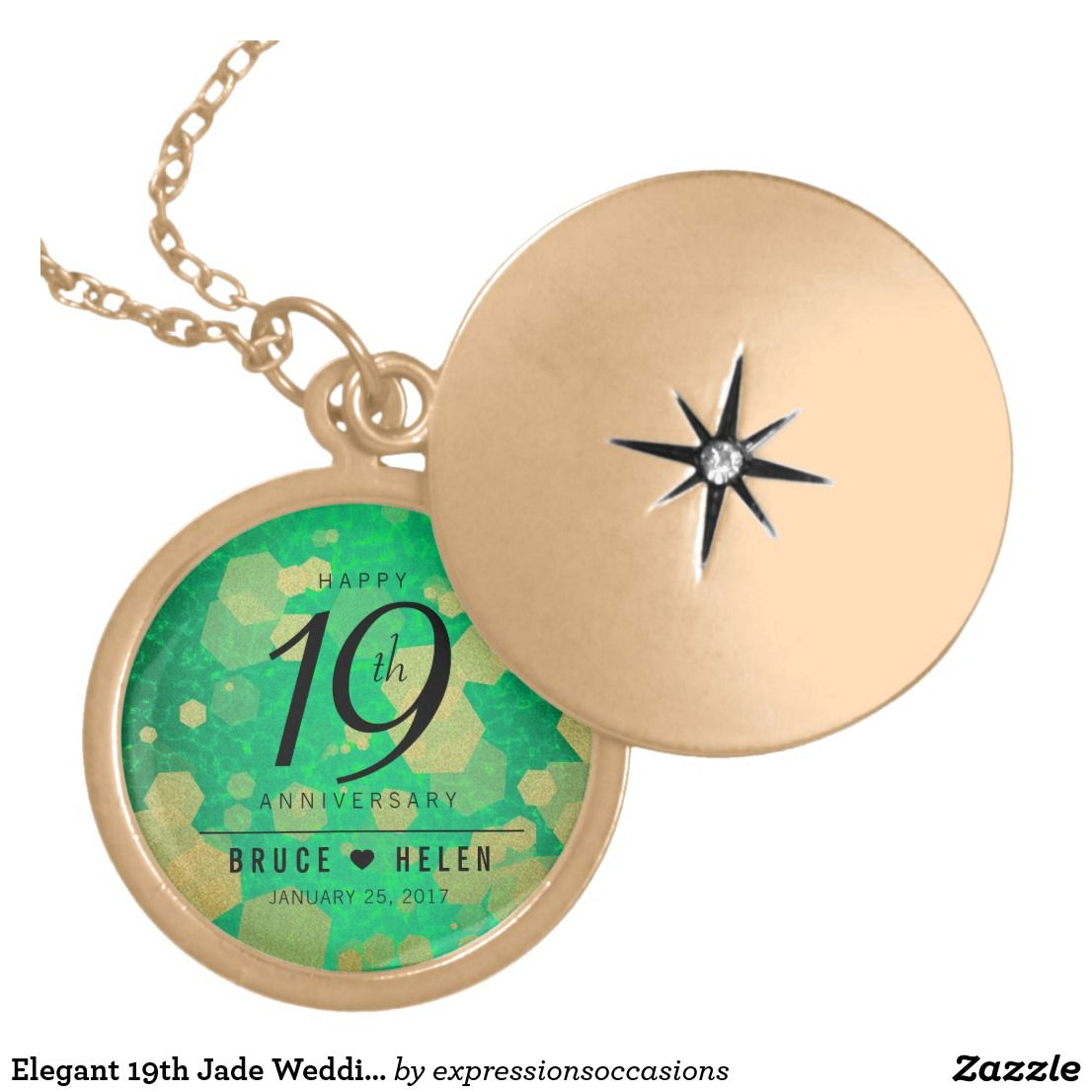 Elegant 19th Jade Wedding Anniversary Celebration Locket